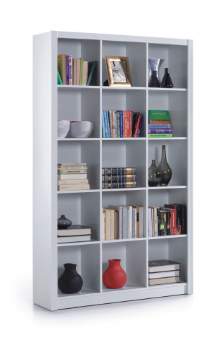 Squares White Gloss Triple Bookcase - 2447